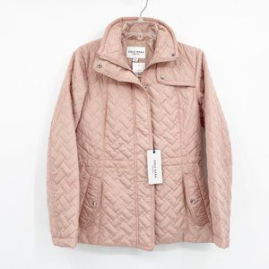 COLE HAAN Mauve Funnel Collar Quilted Jacket